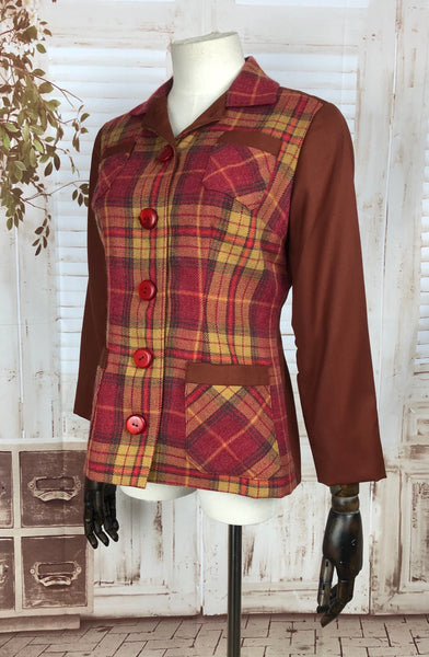Original 1940s 40s Vintage Yellow And Red Plaid Colour Block Jacket