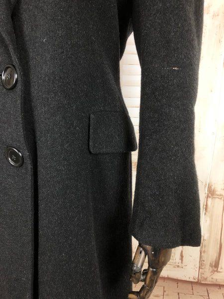 Original Vintage 1940s 40s Dark Grey Double Breasted Wool Coat By Betty Rose