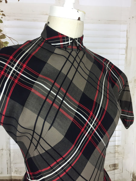 Original 1950s 50s Black And Red Cotton Plaid Day Dress By Toni Todd