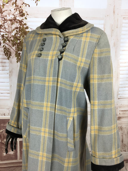 LAYAWAY PAYMENT 2 OF 3 - RESERVED FOR KELLY - Original 1940s 40s Vintage Periwinkle And Yellow Plaid Belted Swing Coat