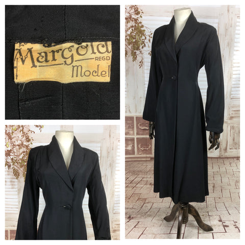 RESERVED FOR CHLOE - PLEASE DO NOT PURCHASE - Original 1940s 40s Vintage Black Faille Princess Coat By Margold