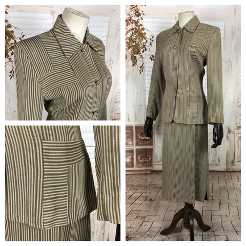 LAYAWAY PAYMENT 1 OF 2 - RESERVED FOR ANDREA - Original Vintage 1940s 40s Brown Striped Wool Skirt Suit In Adrian Style