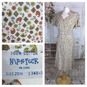 Original 1950s 50s Volup Vintage Cotton House Dress With Orange Novelty Print By Nip And Tuck