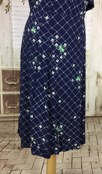 Original Late 1930s 30s Vintage Novelty Print Navy Blue Rayon Day Dress With Green Lattice And Butterflies And White Diamonds Volup