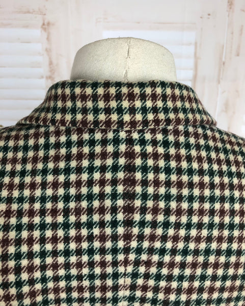 Original 1940s 40s Vintage Green And Brown Check Blazer With CC41 Utility Label