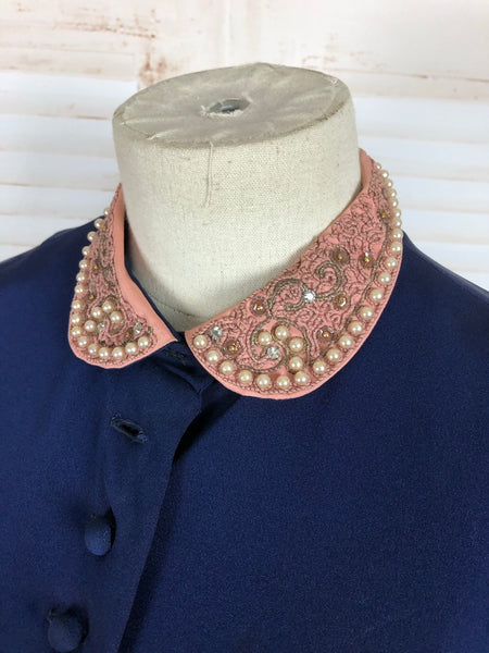 Original 1940s 40s Vintage Navy Blue Suit With Tie Detail And Pink Beaded Soutache Collar By Paul Sachs
