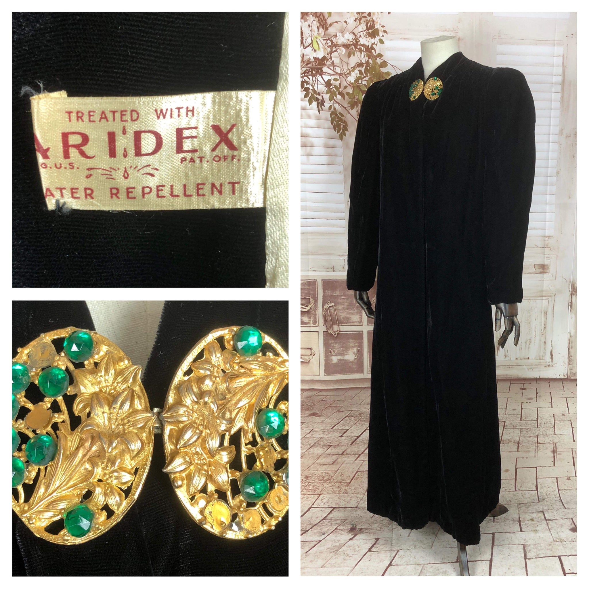 Original 1930s 30s Vintage Black Velvet Coat With Puff Shoulders And Gorgeous Gold Clasp