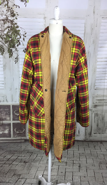 Original 1950s Vintage Mustard Yellow And Red Plaid Thermo Jac Padded Jacket