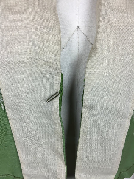 Original 1950s 50s Vintage Cream And Green Linen  Jacket With Green Embroidered Leaves By Kaye Fashions