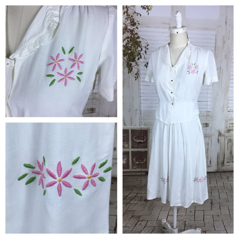 Original 1930s 30s Vintage White Cotton Summer Skirt Suit With Embroidered Pink Flowers