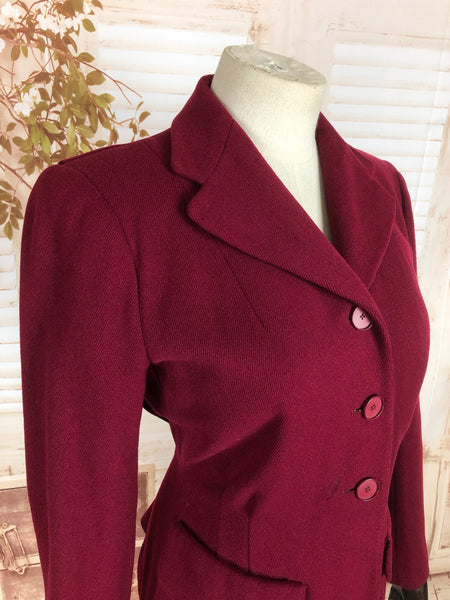 Original Vintage 1940s 40s Cranberry Wool Jacket With CC41 Utility Label By Windsmoor