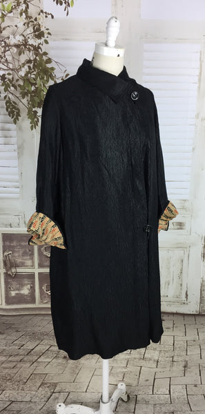 Original 1920s Vintage Black Treebark Effect Black Silk Coat Art Deco