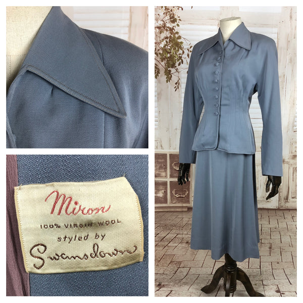 LAYAWAY PAYMENT 1 OF 2 - RESERVED FOR SENDI - Original 1940s 40s Periwinkle Blue Gabardine Skirt Suit By Swansdown