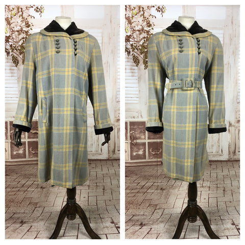 LAYAWAY PAYMENT 3 OF 3 - RESERVED FOR KELLY - Original 1940s 40s Vintage Periwinkle And Yellow Plaid Belted Swing Coat