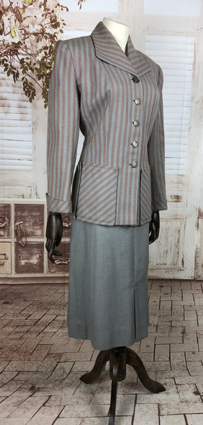 Original 1940s 40s Vintage Mauve Pink And Grey Striped Blazer Skirt Suit By Davidson's Vassar Guild