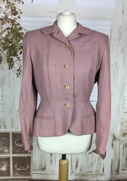 LAYAWAY PAYMENT 2 OF 2 - RESERVED FOR BECCA - PLEASE DO NOT PURCHASE - Original 1940s 40s Vintage Pink Gabardine Wool Jacket By Birchbrook