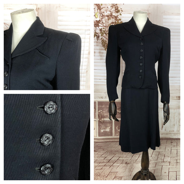 Original 1930s 30s Vintage Navy Blue Cotton Skirt Suit With Diagonal Raised Stripe And Padded Puff Shoulders