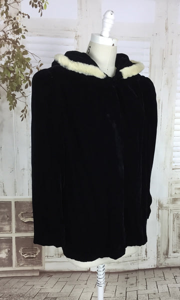 Original 1930s 30s Vintage Black Velvet Coat With Pixie Hood