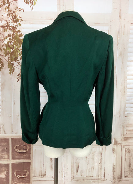 RESERVED ON LAYAWAY FOR KELLY - PLEASE DO NOT PURCHASE - Original 1940s 40s Vintage Forest Green Gabardine Jacket