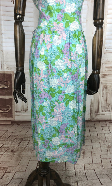Original 1950s 50s Vintage Turquoise Floral Dress