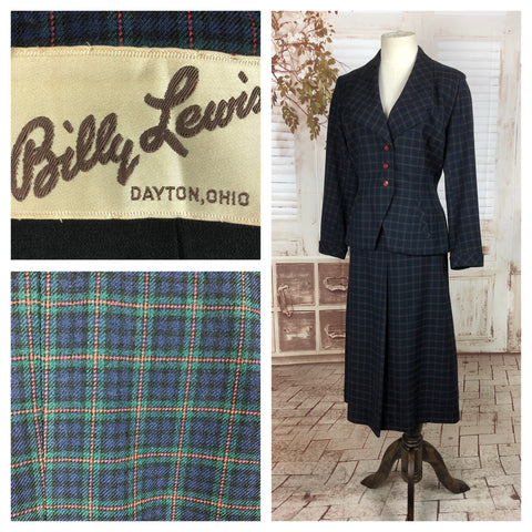 Original 1940s 40s Vintage Green Blue Red Plaid Wool Skirt Suit By Billy Lewis