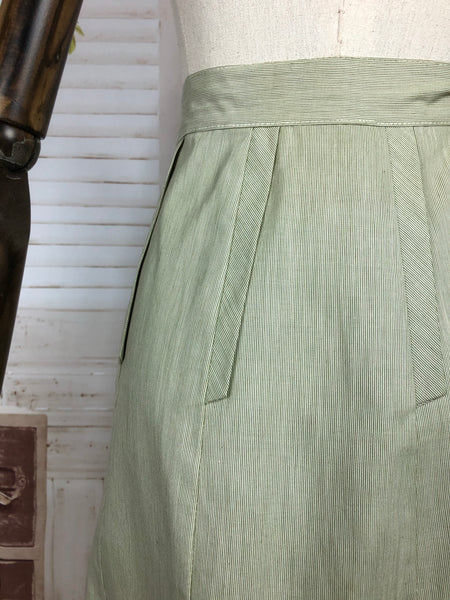 Original 1940s 40s Green And White Striped Skirt