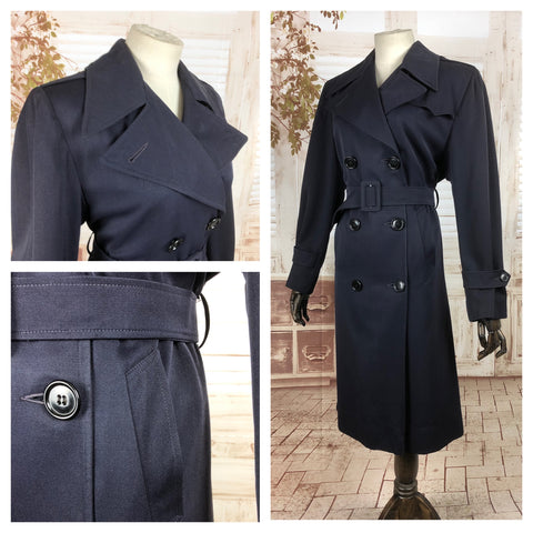 Original 1940s 40s Vintage Navy Blue Gabardine Belted Rain Mac Coat