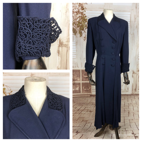 Original 1930s 30s Vintage Double Breasted Midnight Blue Volup Crepe Coat With Lattice Details