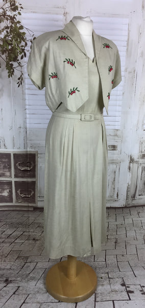 Original 1950s Vintage Stone Coloured Linen Dress And Bolero Set With Red Bead Berries And Green Embroidered Stems By Jean Lang