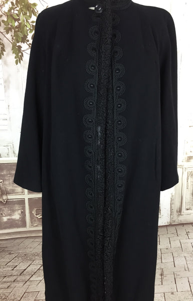 Original 1940s Vintage Black Wool Swing Coat With Soutache And Astrakhan Trim By Hutzler Brothers