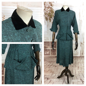 Original Late 1940s 40s Vintage Turquoise Tweed Suit With Velvet Collar