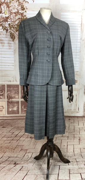RESERVED FOR LAURE - Original 1940s 40s Vintage Grey Wool Plaid Skirt Suit