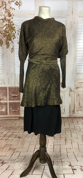 Original 1930s 30s Vintage Belted Lamé Thread Dress With Juliette Sleeve