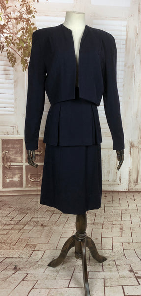 Original 1940s 40s Vintage Navy Blue Suit With Cropped Jacket And Peplum Skirt