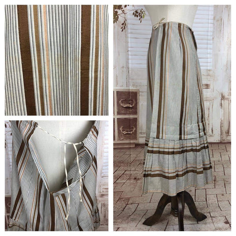 Original Victorian 1890s Antique Brown And Cream Striped Skirt