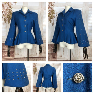 Original 1940s 40s Vintage Blue Studded Jacket With Huge Bishop Sleeves And Peplum
