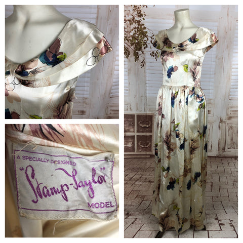 Original Vintage 1940s 40s Ivory Full Length Satin Evening Dress With Floral Print By Stamp Taylor