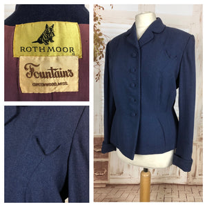 Original Late 1940s 40s Volup Vintage Blue Wool Blazer By Rothmoor