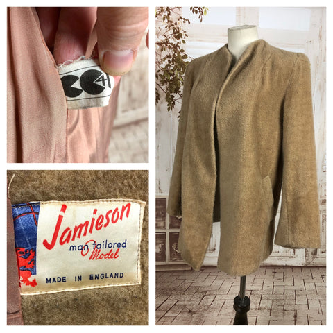 Original 1940s 40s Vintage Wool Teddy Bear Coat With CC41 Utility Labels By Jamieson