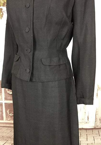 Original 1940s 40s Brown Slubbed Silk Skirt Suit With Velvet Collar And Belt Back By Duchess Royal