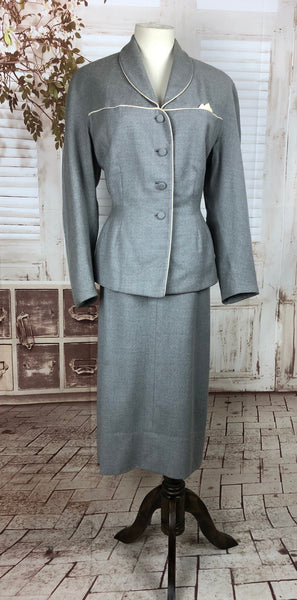 Original 1950s 50s Vintage Grey Wool Suit With White Highlights By Walda Scott