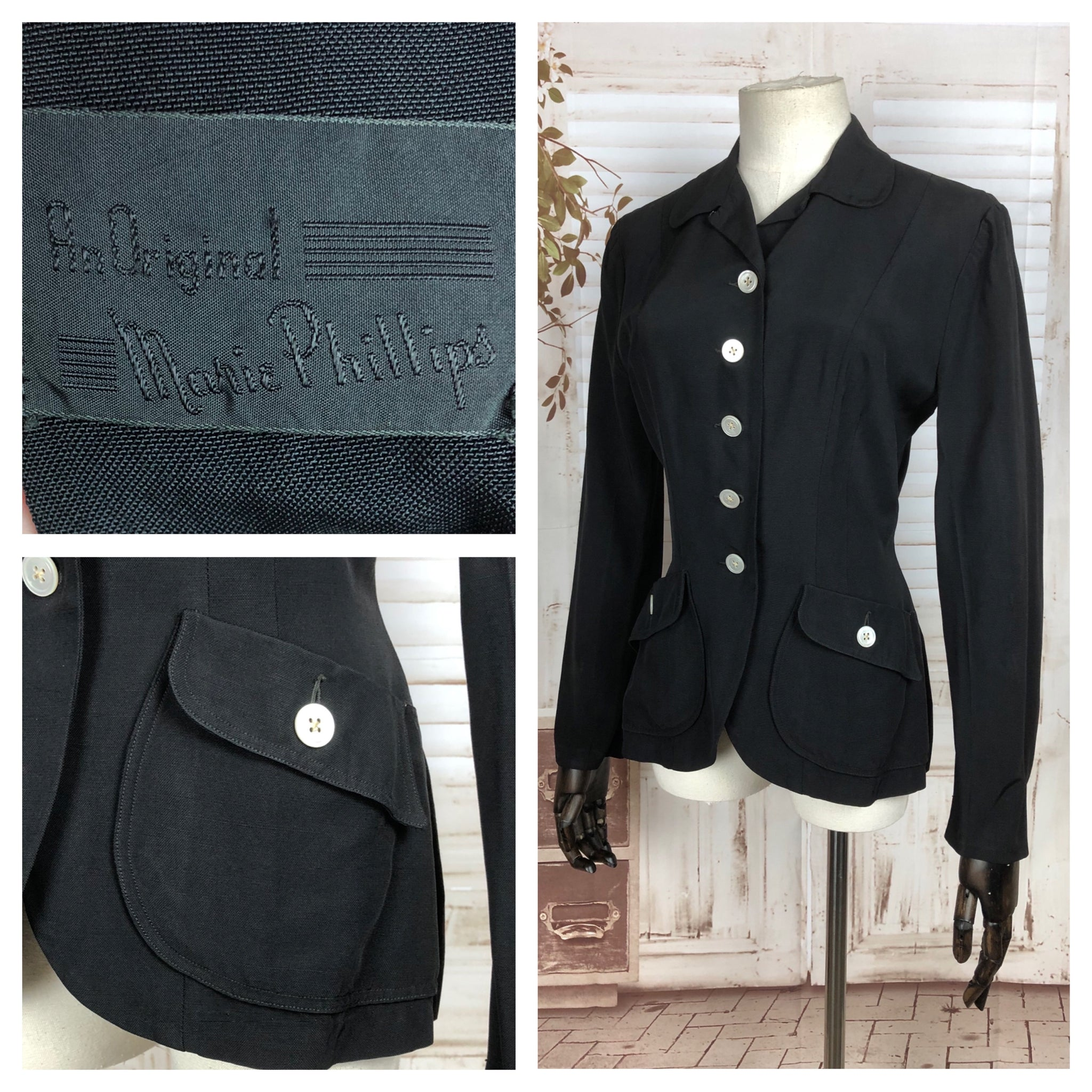 Original 1940s 40s Vintage Black Blazer By Marie Phillips