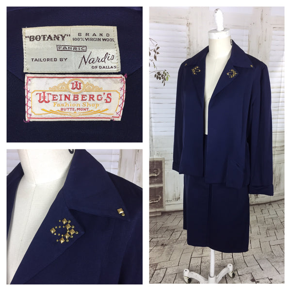 Original 1950s Navy Blue Vintage Wool Skirt Suit With Brass Collar Studs By Botany USA