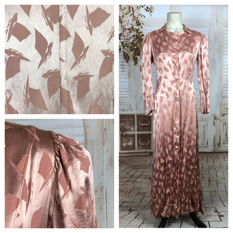 Original 1930s 30s Vintage Pink Satin House Dress With Puff Shoulders And Sailboat Pattern