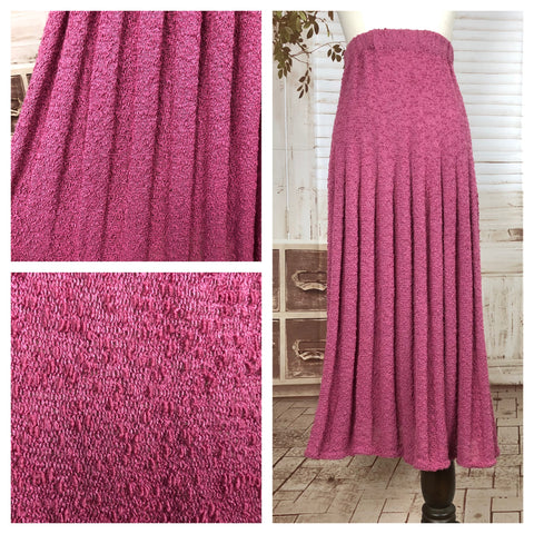 Original Vintage 1940s 40s Volup Rose Pink Knit Skirt