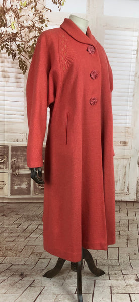 Original Late 1940s 40s Volup Vintage Coral Wool Coat With Trapunto Quilting And Large Carved Buttons