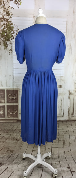 Original 1930s 30s Sky Blue Periwinkle Crepe Dress With Puff Sleeves And Smocking Panels