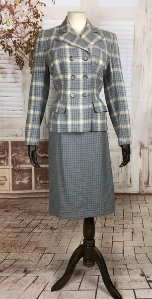 LAYAWAY PAYMENT 2 of 2 - RESERVED FOR LILI - Original 1940s 40s Vintage Periwinkle Blue And Cream Plaid Double Breasted Wool Skirt Suit By O' Rossen
