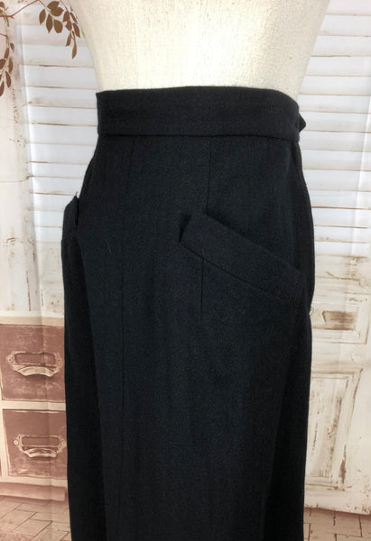 Original Vintage 1940s 40s Black Wool Suit With Geometric Seams And Shirring