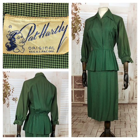 Original 1940s 40s Vintage Green Check Peplum Summer Suit By Pat Hartly